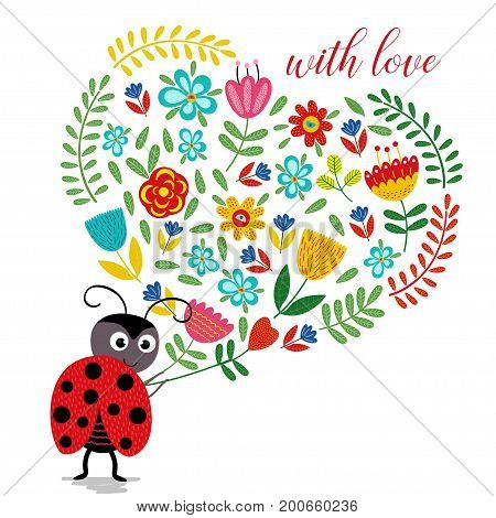 ladybird with heart of flowers  - vector illustration, eps