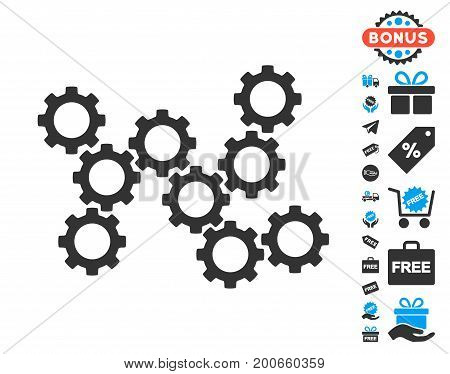 Gears grey icon with free bonus clip art. Vector illustration style is flat iconic symbols.