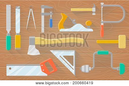 A set of carpenter s tools on a wooden table. Plane saws hammer drill chisels. Vector flat illustration