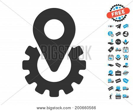 Industry Gear Location Marker grey pictograph with free bonus pictures. Vector illustration style is flat iconic symbols.