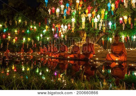 Chiang Mai, Thailand - November 06, 2014: Loy Krathong Ceremony: Buddhist Monks Meditating In Front