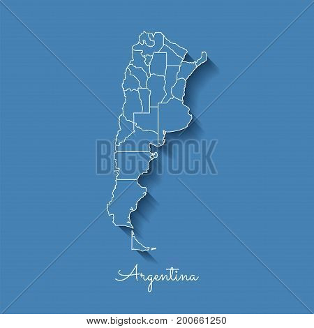 Argentina Region Map: Blue With White Outline And Shadow On Blue Background. Detailed Map Of Argenti