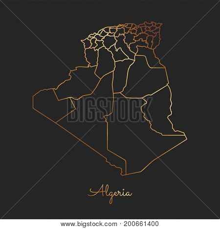 Algeria Region Map: Golden Gradient Outline On Dark Background. Detailed Map Of Algeria Regions. Vec