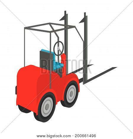 Loader for moving loads. Transportation and delivery single icon in cartoon style isometric vector symbol stock illustration .