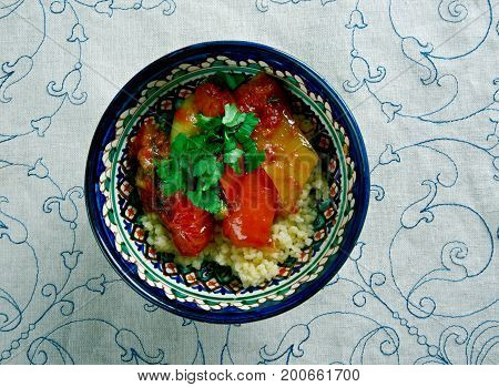 Mediterranean Vegetables CousCous. Maghreb dish  close up meal