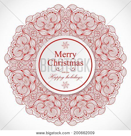 New Year and Christmas card template. Vintage mandala snowflake decorative element. Round white paper circle banner with drop shadow. Vector illustration