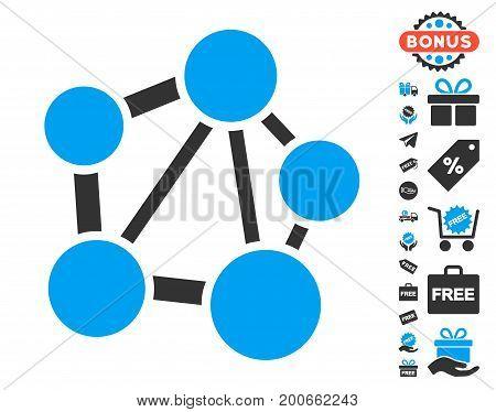 Network icon with free bonus clip art. Vector illustration style is flat iconic symbols.
