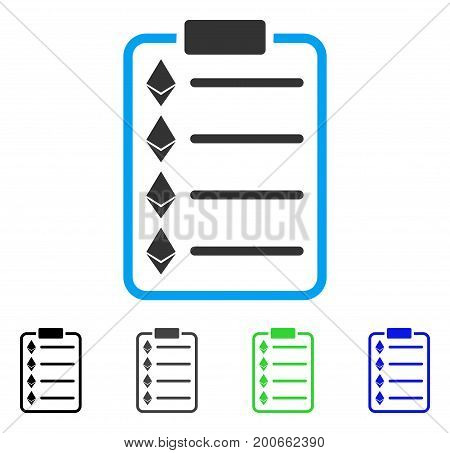Ethereum List Pad flat vector icon. Colored ethereum list pad, gray, black, blue, green icon variants. Flat icon style for graphic design.