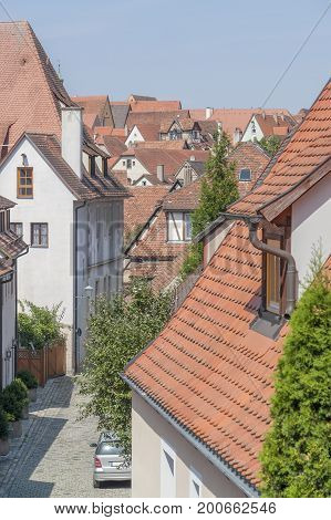 high angle view of Rothenburg ob der Tauber a town in Middle Franconia in Bavaria Germany