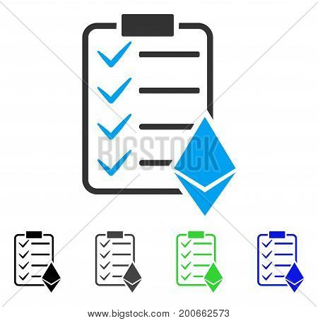 Ethereum Smart Contract flat vector pictogram. Colored ethereum smart contract, gray, black, blue, green icon versions. Flat icon style for application design.