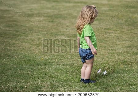 Small Boy With Long Blond Hair Looking At White Flower