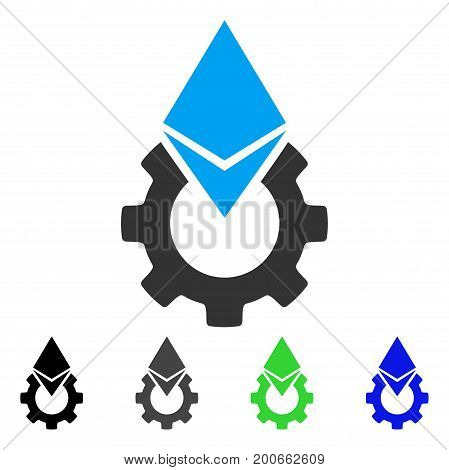 Ethereum Tools Gear flat vector illustration. Colored ethereum tools gear, gray, black, blue, green pictogram versions. Flat icon style for web design.