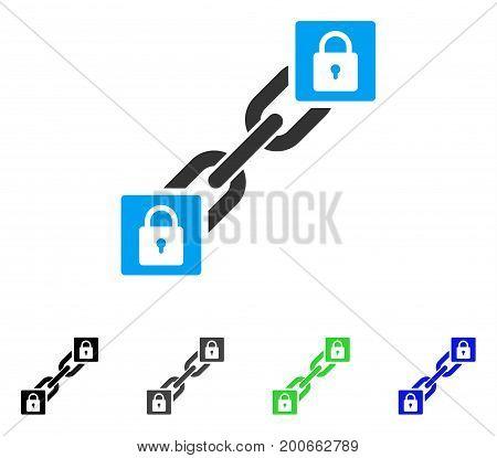 Lock Blockchain flat vector icon. Colored lock blockchain, gray, black, blue, green pictogram versions. Flat icon style for web design.