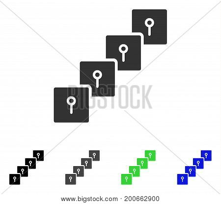 Locker Blockchain flat vector icon. Colored locker blockchain, gray, black, blue, green pictogram variants. Flat icon style for application design.