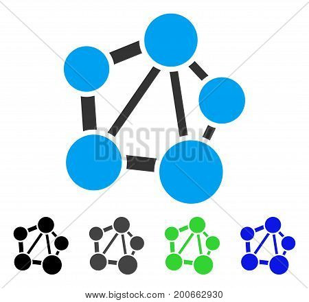 Network flat vector icon. Colored network, gray, black, blue, green pictogram variants. Flat icon style for web design.