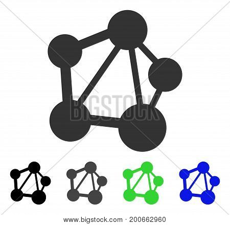 Network flat vector pictograph. Colored network, gray, black, blue, green pictogram variants. Flat icon style for web design.