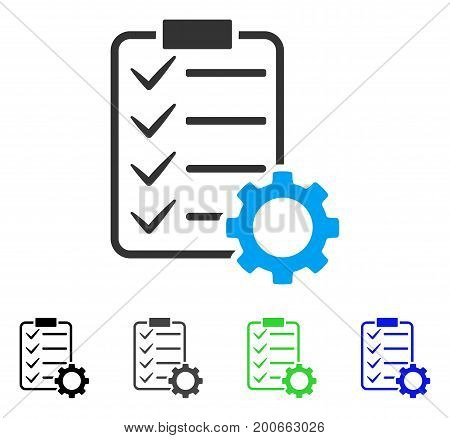 Smart Contract Gear flat vector pictogram. Colored smart contract gear, gray, black, blue, green pictogram versions. Flat icon style for graphic design.