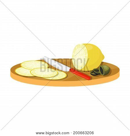 Slicing lemon and olives. Eating and cooking single icon in cartoon style vector symbol stock illustration .