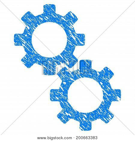 Grunge Gears icon with grunge design and dirty texture. Unclean vector blue pictogram for rubber seal stamp imitations and watermarks. Draft emblem symbol.