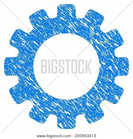 Grunge Gearwheel icon with grunge design and unclean texture. Unclean vector blue pictogram for rubber seal stamp imitations and watermarks. Draft sign symbol.