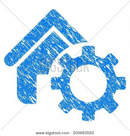 Grunge Homepage Options Gear icon with grunge design and dirty texture. Unclean vector blue pictogram for rubber seal stamp imitations and watermarks. Draft sign symbol.