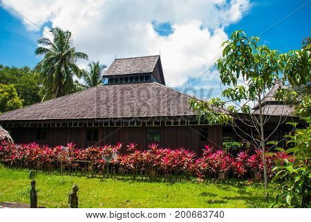 Traditional Wooden Houses In The Kuching To Sarawak Culture Village. Malaysia
