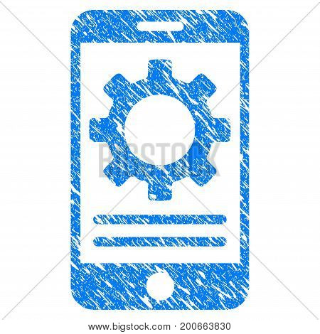 Grunge Mobile Screen Options Gear icon with grunge design and scratched texture. Unclean vector blue pictogram for rubber seal stamp imitations and watermarks. Draft sign symbol.