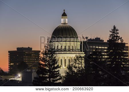California State Capitol building at dusk.