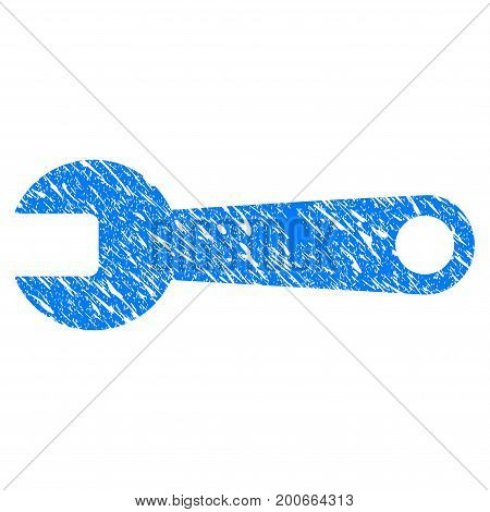Grunge Spanner icon with grunge design and scratched texture. Unclean vector blue pictogram for rubber seal stamp imitations and watermarks. Draft sticker symbol.