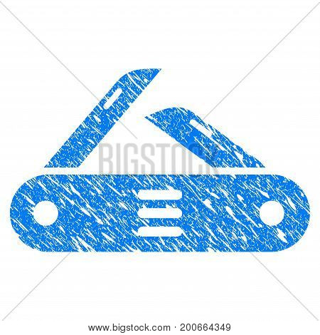 Grunge Swiss Multitool Knife icon with grunge design and dirty texture. Unclean vector blue pictogram for rubber seal stamp imitations and watermarks. Draft sticker symbol.