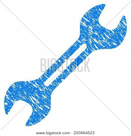 Grunge Wrench icon with grunge design and scratched texture. Unclean vector blue pictogram for rubber seal stamp imitations and watermarks. Draft sticker symbol.
