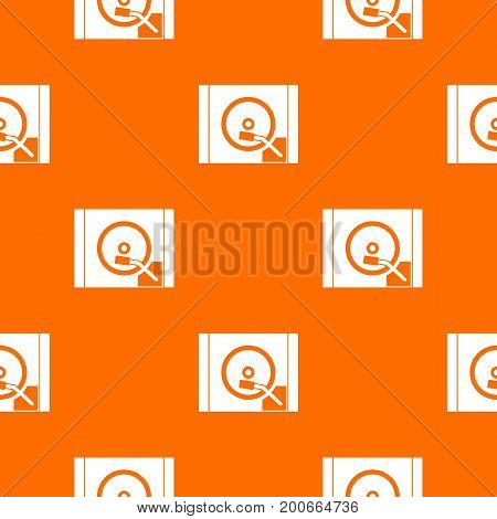 Turntable pattern repeat seamless in orange color for any design. Vector geometric illustration