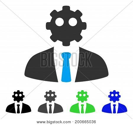 Artificial Office Worker flat vector illustration. Colored artificial office worker, gray, black, blue, green pictogram variants. Flat icon style for application design.