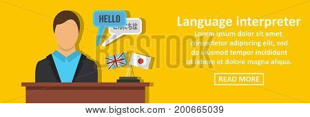 Language interpreter banner horizontal concept. Flat illustration of language interpreter banner horizontal vector concept for web