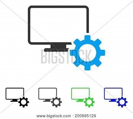 Desktop Options Gear flat vector pictogram. Colored desktop options gear, gray, black, blue, green pictogram variants. Flat icon style for application design.