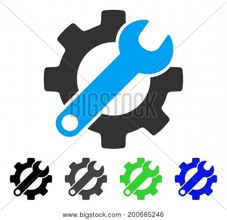 Gear And Wrench Options flat vector pictogram. Colored gear and wrench options, gray, black, blue, green icon versions. Flat icon style for web design.