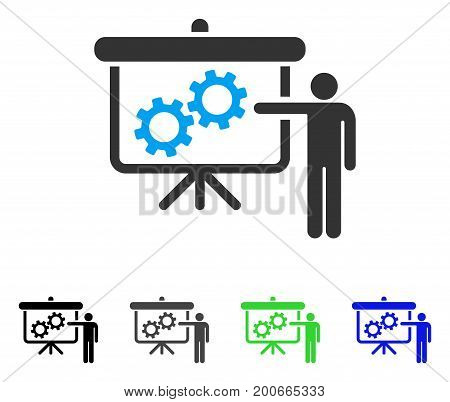 Gears Presentation Lecture flat vector illustration. Colored gears presentation lecture, gray, black, blue, green pictogram variants. Flat icon style for graphic design.