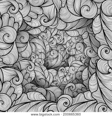 Abstract pattern with waves and lines. Texture with volumetric doodle elements. Paper art background in doodle style. Vector 3d illustration. Abstract ornate art