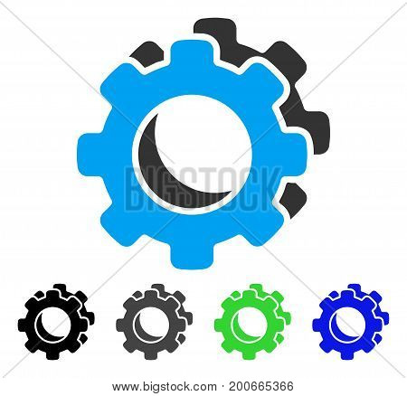 Gears flat vector pictograph. Colored gears, gray, black, blue, green pictogram variants. Flat icon style for web design.