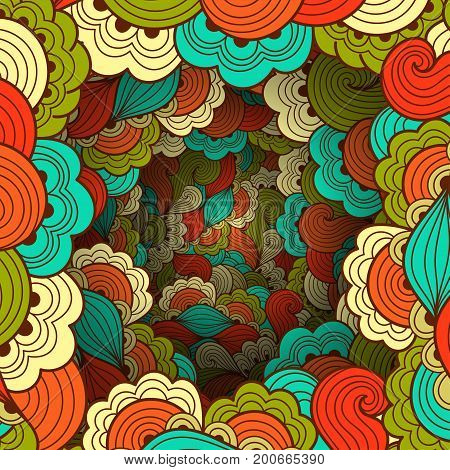 Vintage pattern with waves and floral motifs. Texture with volumetric doodle elements. Paper art background in doodle style. Vector 3d illustration. Abstract ornate art