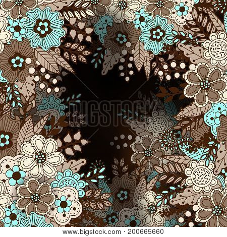 Vintage pattern with floral motifs. Texture with flowers leaves and berries. Natural background in doodle style. Vector 3d illustration. Abstract ornate art