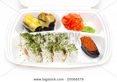 Take Away Sushi Tray Against White Background