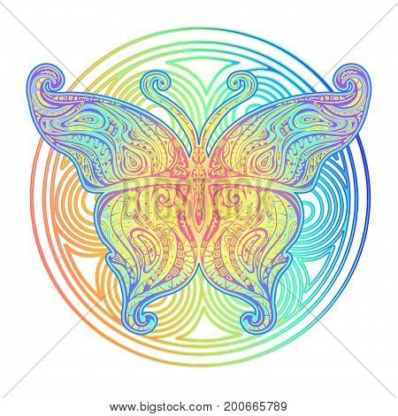 Ornamental handmade butterfly in Boho style. Hand Drawn vector illustration tattoo template. Modern stylish and trendy style for prints and fabric printing. Hippie designs.