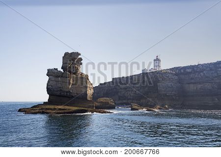 Peniche lighthouse in cape Carvoeiro view from the atlantic sea Portugal