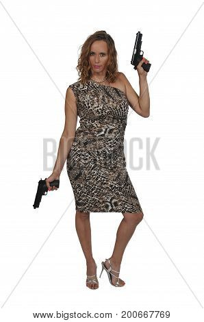 Beautiful woman with a loaded handgun pistols
