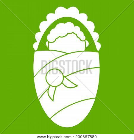 Newborn wrapped in baby blanket icon white isolated on green background. Vector illustration