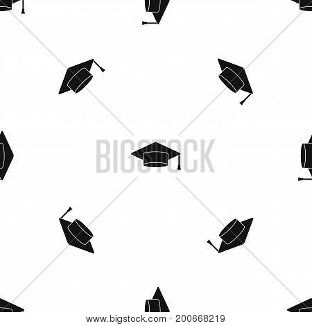 Cap student pattern repeat seamless in black color for any design. Vector geometric illustration