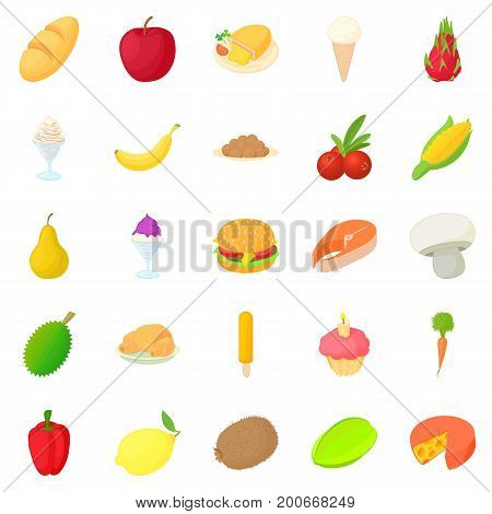 King of fruit icons set. Cartoon set of 25 king of fruit vector icons for web isolated on white background