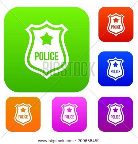 Police badge set icon in different colors isolated vector illustration. Premium collection