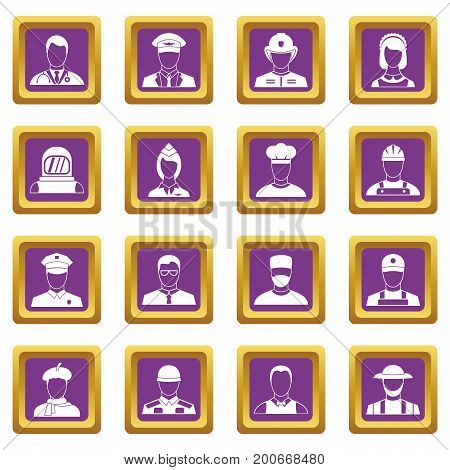 Professions icons set in purple color isolated vector illustration for web and any design